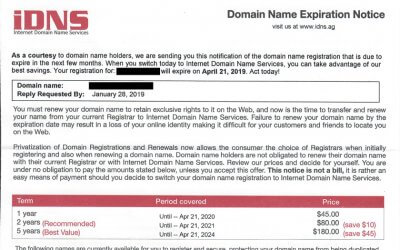 "iDNS ""Domain Name Expiration Notice"" Scam"