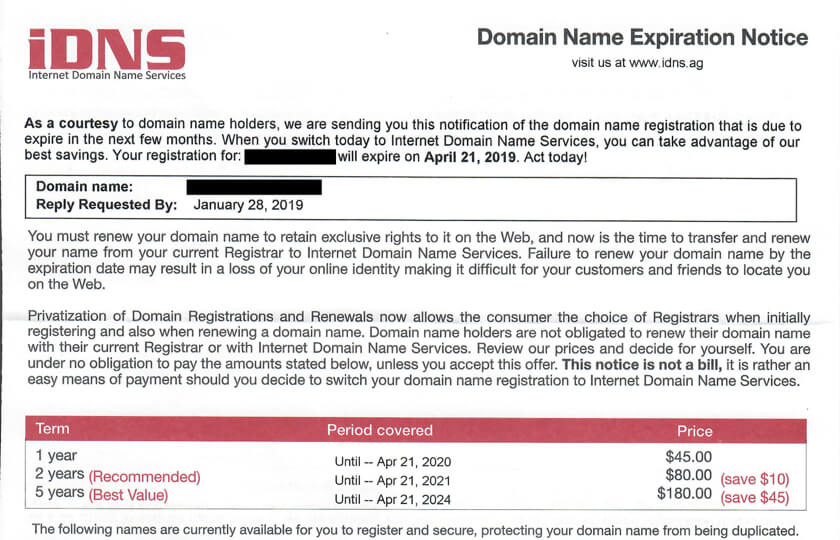 "iDNS ""Domain Name Expiration Notice"" Scam"